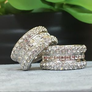 Jewelry - Silver Tone Rhinestone Wide Hoop Clip-On Earrings